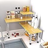 SAUCE ZHAN 3 Tier Corner Shelf Countertop Organizer Kitchen Counter Top Spice Rack Over Sink Storage Bamboo Display Shelves Bookshelf Desktop Space Saver for Living Room, Bathroom, Bedroom, Office