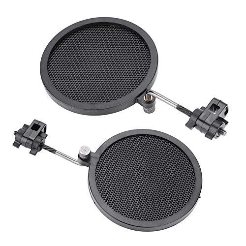 Fafeims Mic Parabrisas Negro Mic Parabrisas 8 cm Mini Capa Doble Estudio Micrófono Protector de Viento Filtro Ajustable de 360 Grados con Soporte