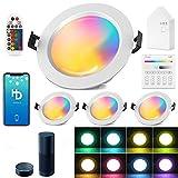 4 focos LED empotrables con WiFi, Bluetooth, 15 W, 1200 lm, RGBW + CCT, 5 en 1, 230 V, regulable, de acero, para techo o salón