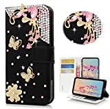 STENES Huawei Ascend XT2 Case - Stylish - 3D Handmade Bling Crystal Pretty Butterfly Flowers Wallet Credit Card Slots Fold Stand Leather Cover Case for Huawei Ascend XT2 H1711 - Black