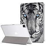 Yoedge Funda para iPad Pro 12.9 2020, Cárcasa Magnetica [PU Cuero + PC Back] Función de Soporte y Auto Sueño/Estela Smart Cover con Dibujos Diseño Compatible con iPad Pro 12.9 2020, Tigre