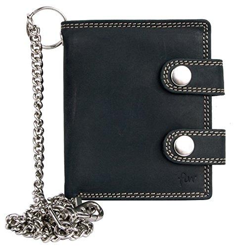 FLW Cartera de bolsillo gris oscuro estilo motero de cuero con cadena de metal