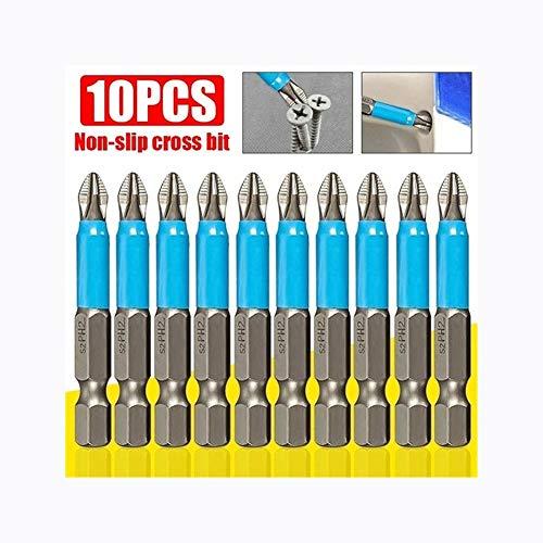 KHBD 50mm PH2 Herramienta Cruz Destornillador Taladro Taladro de Mano Antideslizante Mango hexágono eléctrica Destornillador magnético de perforación 3/5/10 Piezas (Size : 3 pcs)
