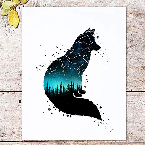 Fox Art Print, Watercolor Forest, Double Exposure Art, Fox Wall Art, Creative Artwork, Gift Idea, Constellation Sky, Teal and Navy Color, Wild Animal Decor, 8x10 inch No Frame