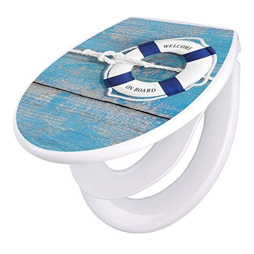 banjado Familien WC Sitz mit Absenkautomatik | Toilettendeckel mit Kindersitz | Klodeckel weiß | Toilettensitz mit Soft Close | 44 x 37 cm WC Deckel mit Motiv Blauer Rettungsring