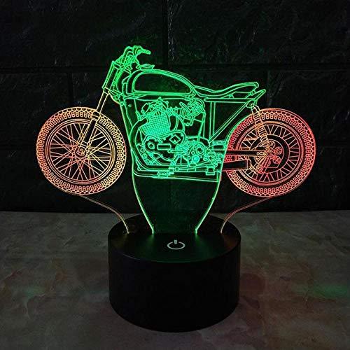 Preisvergleich Produktbild XQFZXQ 3D Lámpara óptico Illusions Luz Nocturna,  Moto genial Kinder 16 Colores Cambio de Botón Táctil y Cable USB para Cumpleaños,  Navidad Regalos de Mujer Bebes Hombre Niños Amigas