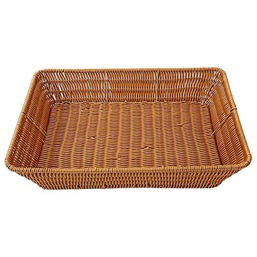 QINGJIANG Cestino rettangolare in vimini intrecciato per conservare il pane e gli snack (XL)