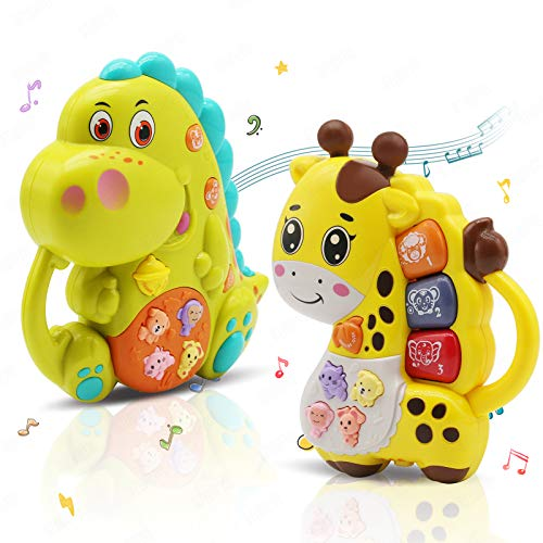 INTEGEAR 2 Pack Baby Musical Toys Educational Light Up Toy with Sound and Piano Keyboard Gift for Toddlers Infants 612 Months and Up Dinosaur and Giraffe
