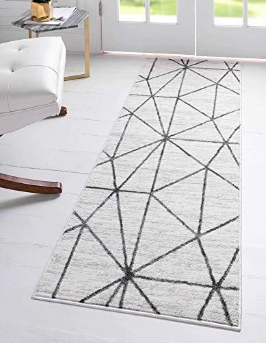 Unique Loom Matrix Trellis Collection Modern Geometric Lattice Ivory/Gray Runner Rug (2' 0 x 6' 0)