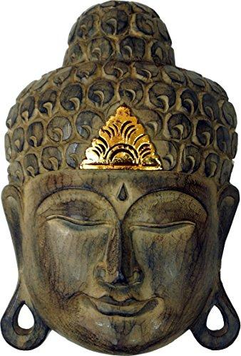 Guru-Shop Máscara de Buda Tallada con Decoración Dorada, Decoración de...