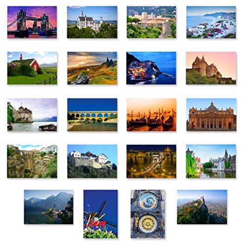 Charming EUROPE Postkarten 20er Set Postkarte Vielfältiges Pack mit europäischem Reisethema und mehreren UNESCO Worterbe Sites Postkarten Hergestellt in den USA.