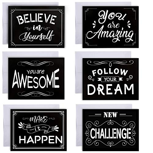 36 Pieces Inspirational Greeting Cards Motivational Quote Card with Envelopes for Graduates Students (Inspirational Cards)