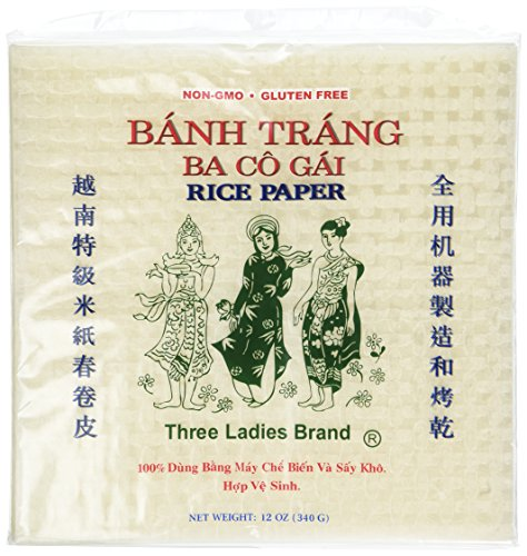 2 Packs Square Three Ladies Rice Paper Wrappers (22cm)