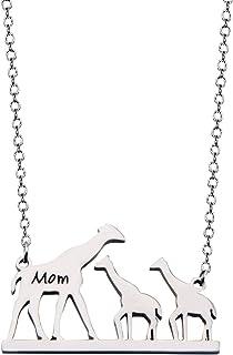 Gzrlyf Mama Giraffe Necklace Mom Giraffe Necklace with Giraffe Cubs Gift for Mom