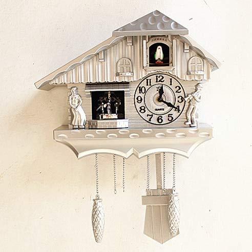 ZHU Europa Reloj de Cuco pájaro Cantando Pared casa de Campo decoración Productos más vendidos Ideas de Regalo Relojes de Pared Antiguos 44x36 cm