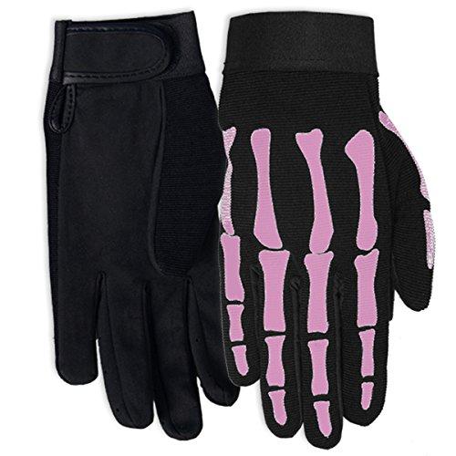 Hot Leathers Women's Pink Skeleton Mechanic Gloves (Black, Medium)