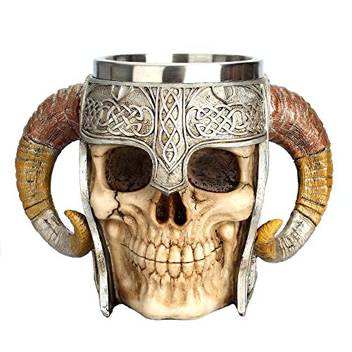 Viking Skeleton Mug with Horn Handles - Stainless Steel Cup Holds 17 Ounces - Gothic Medieval...