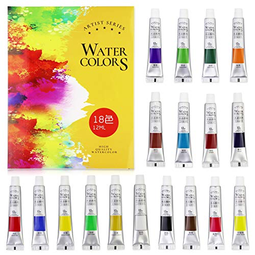 FUNHUA Watercolor Paint Artist Set - 18 Tube Art Kit Includes Colorful Water Color Paints (18 Colors)