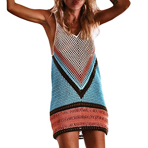 Sexy Vestido de Playa de Crochet para Mujer, Dragon868 Boho Traje de Baño Bikini Cover Up, Fishnet Sarong Wrap Bikini Handmade Smock, Protector Solar Hueco Mini Vestido, S-XL
