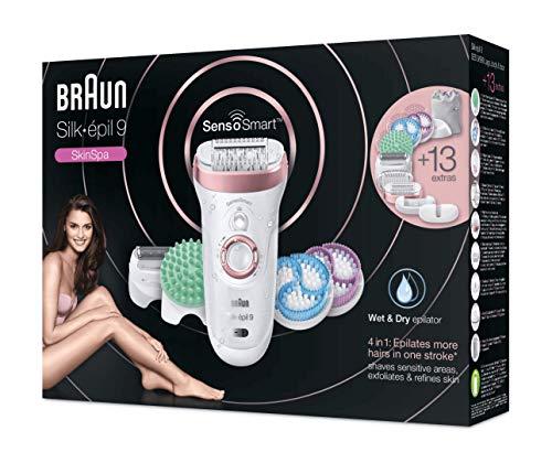Braun Silk-épil 9 9/990 SkinSpa SensoSmart Epilatore Elettrico Donna Oro Rosa senza Fili con Sistema Wet&Dry di Epilazione, Esfoliazione e Cura della Pelle 4-In-1 e 13 Accessori