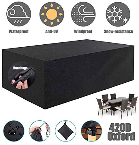 ZHAONI Patio Furniture Covers Waterproof, Outdoor Rectangular Table Cover, Fire Pit Cover, Side Table Cover, Heavy Duty 420D Oxford Furniture Cover Wind Proof Snow Dust UV,213x132x74cm/7x4x2ft