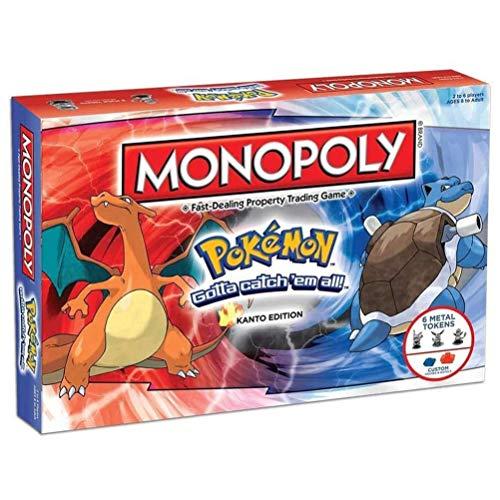 WOD Monopoly Pokemon Game Party Diversión Multijugador Juegos Monopoly Pokémon Mazo De Cartas Juegos De Estrategia para Las Edades para Niños De 8 Y hasta (Inglés Edition)