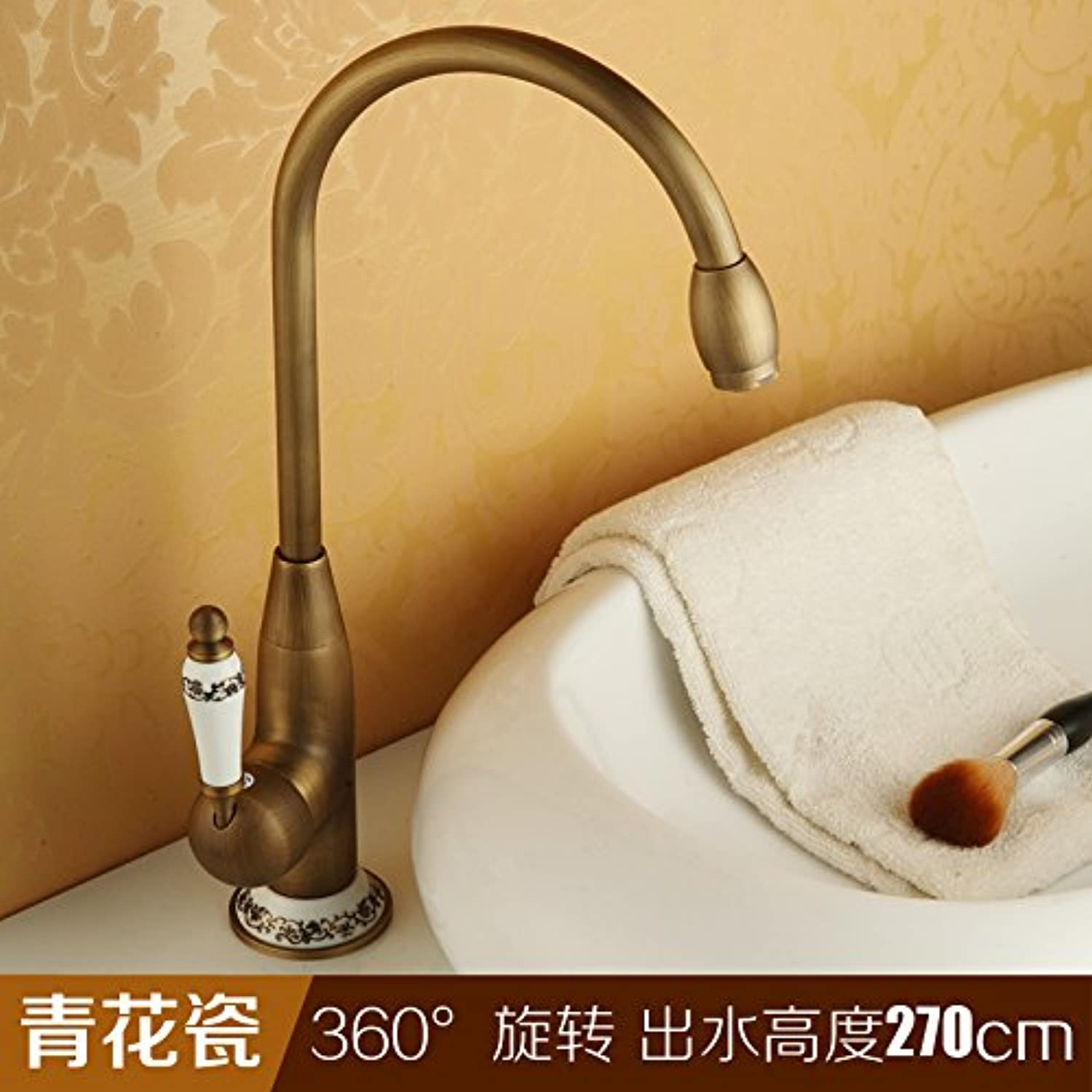 LHbox Basin Mixer Tap Bathroom Sink Faucet Antique-brass kitchen faucet hot and cold with high swivel basin sinks common cold water faucet, bluee-tiled)