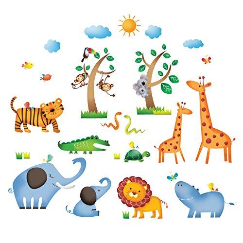 DECOWALL DS-8016 Animales Salvajes de la Jungla Vinilo Pegatinas Decorativas Adhesiva Pared Dormitorio Salón Guardería Habitación Infantiles Niños Bebés (Pequeña)