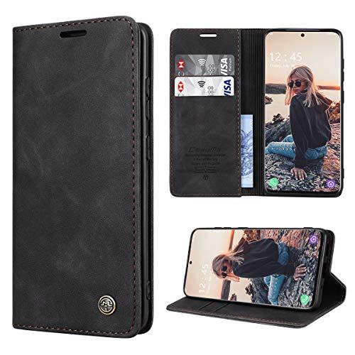 RuiPower Handyhülle für Samsung Galaxy S20 Plus Hülle Premium Leder PU Flip Hülle Wallet Lederhülle Klapphülle Magnetisch Silikon Schutzhülle für Samsung Galaxy S20+ Plus Tasche (6.7'') - Schwarz