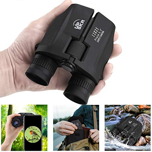 UPSKR 12x25 Compact Binoculars with Low Light Night Vision Large Eyepiece High Power Waterproof Binocular Easy Focus for Outdoor Hunting bird watching Traveling Sightseeing Fit For adults and kids