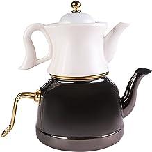 Karaca Retro emalia porcelanowy dzbanek do herbaty zestaw czarny, herbata, kaydanlik, turecki czajnik do herbaty, zestaw d...
