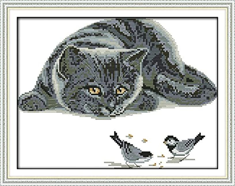 Joy Sunday Cross Stitch Kit 11CT Stamped Embroidery Kits Precise Printed Needlework- The Curious cat (2) 41×33CM