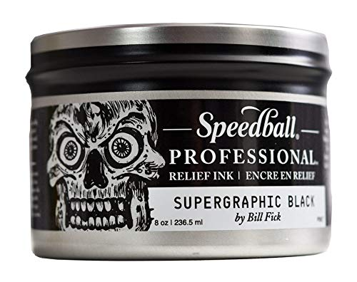 Speedball Professional Relief Ink, Supergraphic Black, 8 Ounce Can