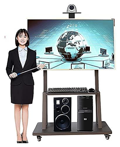 TabloKanvas Soporte para TV de más de 50 pulgadas con ruedas, soporte para TV con soporte para TV con 2 estantes (color: negro)