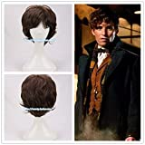Fantastic Beasts and Where to Find Them Newt Scamander Brown Curly Cosplay Wig Newt wig Men's brown wavy hair wig