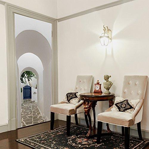 Deurbehang 3D zelfklevende deursticker Paros Arch Griekenland fotobehang wanddecoratie wandsticker afneembaar woonkamer keuken slaapkamer badkamer decoratie wand 95x215cm