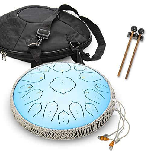 Maya Trommel 15 Notes 35 cm Stahl Zunge Drum – Stimmts Percussion Instrument – Handpan Drum Sets Mit Tasche, Musikbuch, Mallets, Fingerpicks,Blue