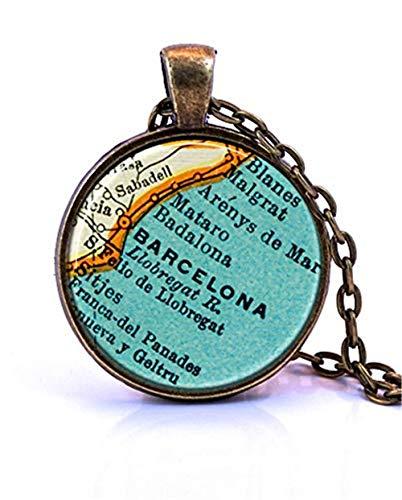 Collar con Colgante de Mapa de España de Barcelona Rosa Rosa, Creado a Partir de un Mapa Vintage publicado en 1937.