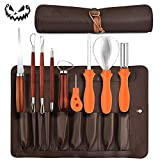 MeiGuiSha 10 Pieces Professional Wooden Pumpkin Carving Tools Kit Kit-13 Cuts, Scoops, Scrapers, Saws, Loops, Knives with Reusable PU Case Set, Knives with Reusable PU Case Set