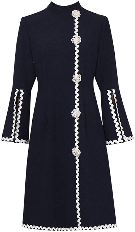 MTBDLYQ Woman'S Dress,Runway Dress Spring Fashion Luxury Women Dreses Elegant Embroidery Pearls Beading Office Lady Party Dresses