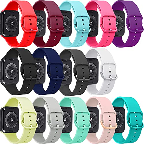 14 pack Bands Compatible with Apple Watch Band 38mm 40mm, Each Silicone Replacement Strap with Same Color of Band Classic Clasp for iWatch Series SE 6 5 4 3 2 1, Women Men