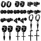 ONESING 12 Pairs Earrings for Men Black Stud Earrings Men Earrings Black Hoop Earrings Stainless Steel Cross Earrings Set Jewelry Piercings for Men Women