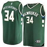 TOPSTEE Camiseta de baloncesto al aire libre Giannis Bucks #34 Milwaukee Antetokounmpo Réplica de Réplica Verde - Transpirable Casual Camisetas para Hombres Icon Edition