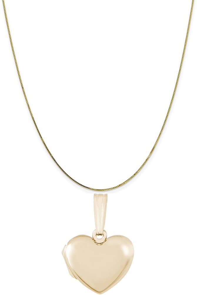 Rembrandt Charms 14K Yellow Gold Plain Heart Locket Charm on a 16, 18 or 20 inch Rope, Box or Curb Chain Necklace