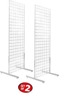 Only Hangers 2' x 6' Gridwall Panel Tower with T-Base Floorstanding Display Kit, 2-Pack White …