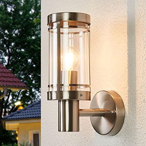 Lindby Edelstahl Wandlampe aussen   IP44   Wandleuchte aussen silber   Außenbeleuchtung Wand, Hof, Garten, Terrasse, Balkon   Aussenleuchte Wand