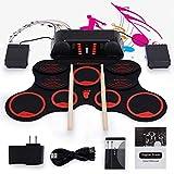 batteria elettronica roll up drum set 9 batteria pieghevole per altoparlanti stereo incorporata con bacchette 7a / pedali/batteria ricaricabile/adattatore/cavo aux-in,red