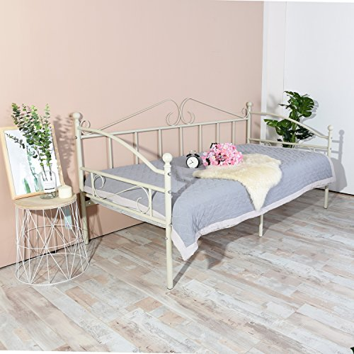 H.J WeDoo Victorian Style Metal Single Day Bed Frame Guest Sofa Bed Daybeds for Living Room Bed Room Fits for 90 * 190 cm Mattress Beige