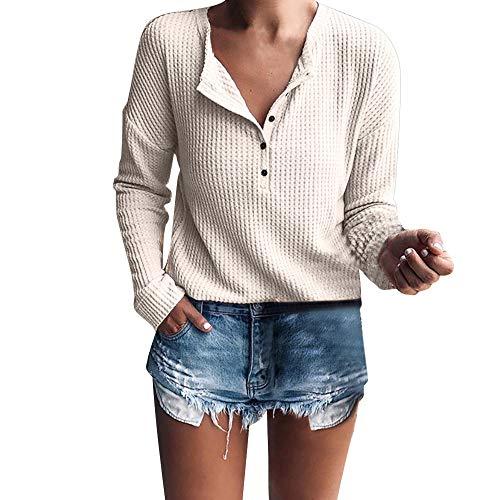 Zegeey Damen Langarmshirts T-Shirt Tops Pullover Einfarbig V-Ausschnitt SchaltfläChen Lose Bluse Hemd SchaltfläChen Pulli Strickwaren Shirt Grundiert Stretch Oberteil Sweatshirt (Beige,S)