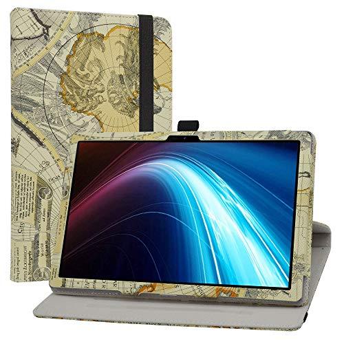LiuShan Rotary Funda para Winnovo P20 / TECLAST P20HD, Folio Soporte PU Cuero con Funda Caso para 10.1' Dragon Touch Notepad 102 / Blackview Tab8 / AOYODKG A39 Tablet,Map White